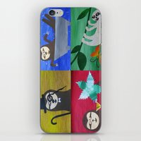 sloths iPhone & iPod Skins featuring collage of sloths - sloth pictures by Cathy Jacobs