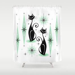 Mid Century Meow Retro Atomic Cats - w/ Mint on White Shower Curtain