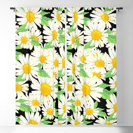 Profusion White Zinnia Flowers Pattern #2 Blackout Curtain