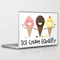 equality Laptop & iPad Skins featuring Ice cream Equality (reloaded) by Juliana Rojas | Puchu