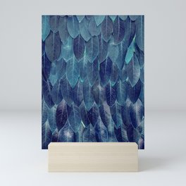 Blue Leaves and Feathers Sci-Fi Texture Mini Art Print