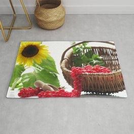 Red summer fruits image Rug