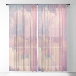 Candy Glitched Sky Sheer Curtain