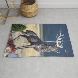 Bird Flying From Stag Deer Statue Rug