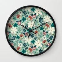garden Wall Clocks featuring Flower Garden by Anna Deegan