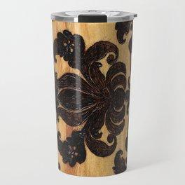 Wood Burnt Damask Travel Mug