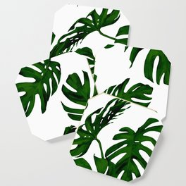 Simply Tropical Palm Leaves in Jungle Green Coaster