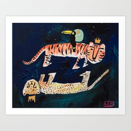 Tiger, Cheetah, Toucan Painting Art Print