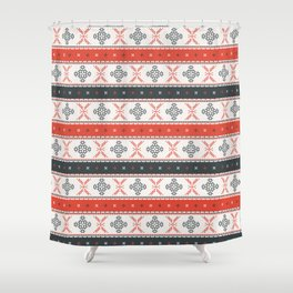 Traditional Romanian embroidery pixel Shower Curtain