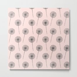 Contemporary Flower Dandelion Pattern Metal Print