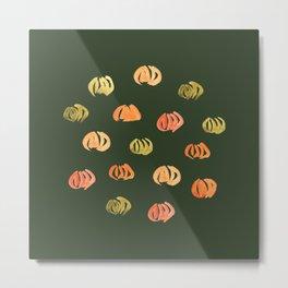 Pumpkins on Hunter Green Metal Print