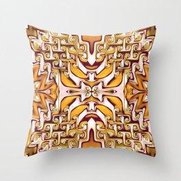 Fiery Orange and Cream Spiral Bends Throw Pillow