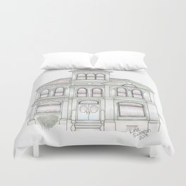 Green Italianate Victorian Duvet Cover