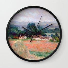 Haystacks at Giverny by Claude Monet Wall Clock