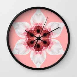 White and Pink Gerber Kaleidoscope Wall Clock