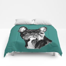 French Bulldog. Teal  Comforters