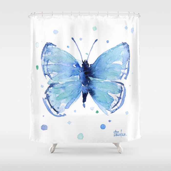 Blue Butterfly Watercolor Shower Curtain