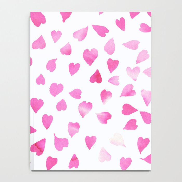 Blush pink hand painted watercolor valentine hearts Notebook
