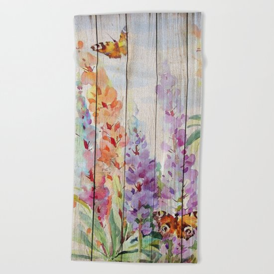 Spring on Wood 03 Beach Towel