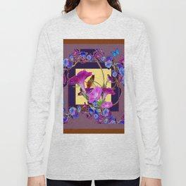 Puce Purple Morning Glories Butterfly Patterns Brown Art Long Sleeve T-shirt