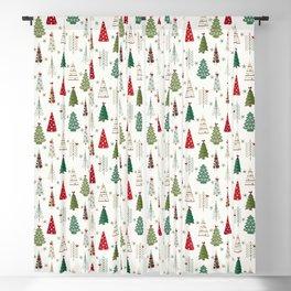 Scandinavian Christmas Trees Pattern - Red Green Blackout Curtain