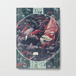 Christmas Squid Metal Print