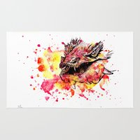 smaug Area & Throw Rugs featuring Watercolor Smaug by Trinity Bennett