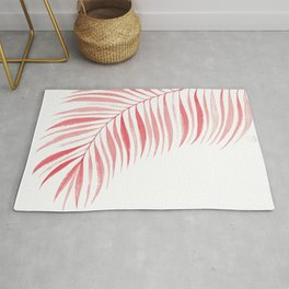 Tropical Palm Frond: Coral/Red Rug