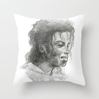 mike wrobel Throw Pillows featuring Mike by QIQI DRAWS