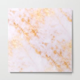 Gold Marble - Shimmery Glittery Pink Gold Marble Metallic Metal Print