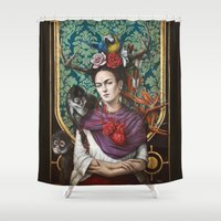 frida kahlo Shower Curtains featuring Frida kahlo by Sophie Wilkins