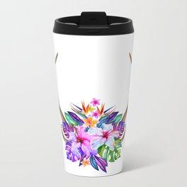 Floral Horn Metal Travel Mug