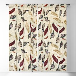 Golden Seed Pods Rustic Nature Botanical Print Blackout Curtain
