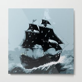 Pirate in Storm Metal Print