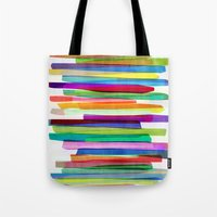 neon Tote Bags featuring Colorful Stripes 1 by Mareike Böhmer