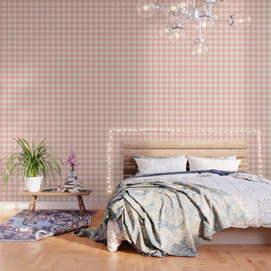 PASTEL GINGHAM 02, blush pink squares by slanapotam