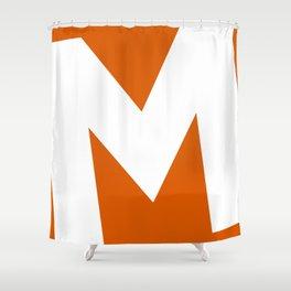 Sans Serif M. White on Red Orange. Shower Curtain