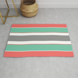 Minimal Abstract Lucite green, Coral, Grey, Honey, and White 07 Rug