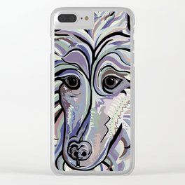 Collie in Denim Colors Clear iPhone Case