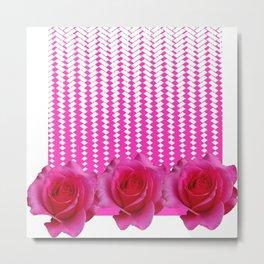 MODERN ART FUCHSIA PINK ROSE PATTERN Metal Print