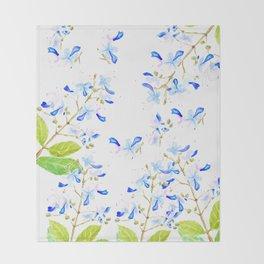 blue butterfly flowers arrangement watercolor Throw Blanket