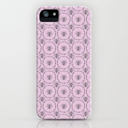Vintage Shabby Chic Bees in Laurel Wreaths in Grey on Lilac iPhone Case