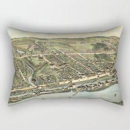 Vintage Pictorial Map of Windsor Locks CT (1877) Rectangular Pillow