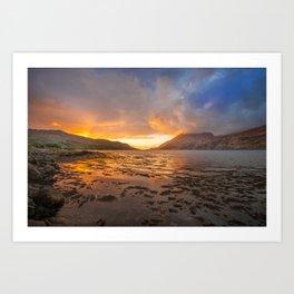 Sunset over Connemara fjord Art Print