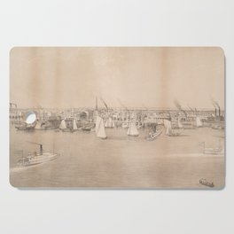 Vintage Pictorial View of Jersey City NJ (1866) Cutting Board