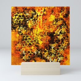bees fill honeycombs in hive splatter watercolor Mini Art Print