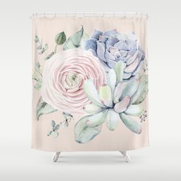 Pretty Pink Succulents Garden Shower Curtain
