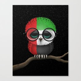 Baby Owl with Glasses and UAE Flag Canvas Print