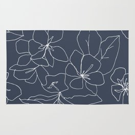 Flowers in Bloom, Drawing in Blue Rug