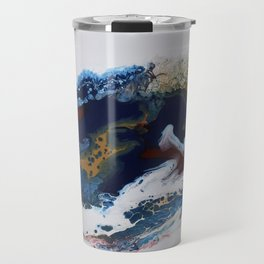 Celebration Navy Burgundy Gold Fluid Marble Painting Travel Mug